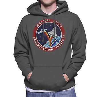 NASA STS 37 Atlantis Mission Badge Distressed Men's Hooded Sweatshirt