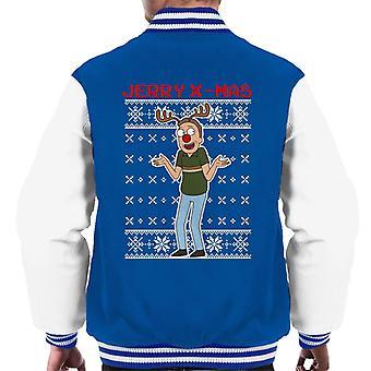 Rick og Morty Christmas Jerry Xmas rensdyr gevirer mænd ' s varsity jakke