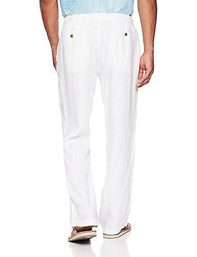 28 palmas hombres's pantalone de lino relaxed-fit con cordón, blanco brillante, medio/3...