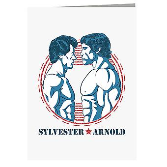 Arnold Vs Rocky Blue Greeting Card
