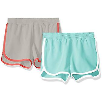Essentials Big Girlsă 2-Pack Active Running Short, Aqua/Grey, XL