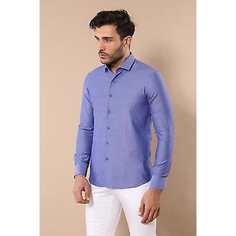 Sininen pistekuviollinen mies's paita | Kävi koulua wessi