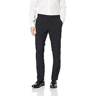 BUTTONED DOWN Men's Slim Fit Stretch Wool Dress Pant, Navy, 32W x 28L