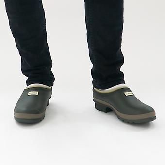 Hunter Gardener Clog Mens Rubber Outdoor Shoes Dark Olive/clay