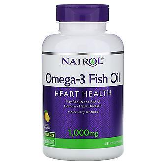 Natrol, Omega-3 Fiskolja, Naturlig citronsmak, 1 000 mg, 150 Softgels