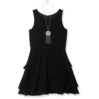 Amy Byer Girls' Racerback Dress with Tulip Overlay, Black, 16