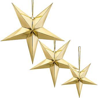 Kulta metallinen folio roikkuu paperi tähti joulujuhla koristelu - 45cm