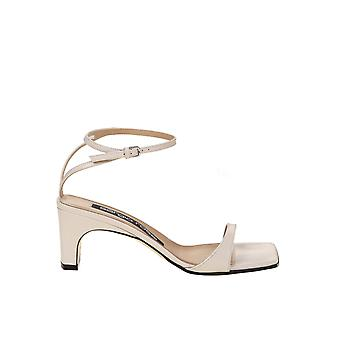 Sergio Rossi A77970mvia109180 Femmes'sandales en cuir blanc