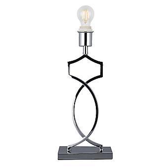 Lampada da tavolo di base rettangolare senza ombra, interruttore in linea, 1 light E27 cromato lucido
