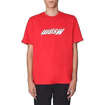 Msgm 2740mm10919579718 Herren's rotes Baumwoll-T-shirt