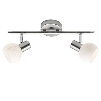 LUZ BRILLANTE Bona Spot Tube 2flg hierro/blanco ? 2x D45, E14, 40W, adecuado para lámparas de caída (no incluidas) Escala A++
