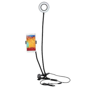 12w Long Arm Selfie Universal Holder 24 Leds Ring Flash Fill Light Caster Usb