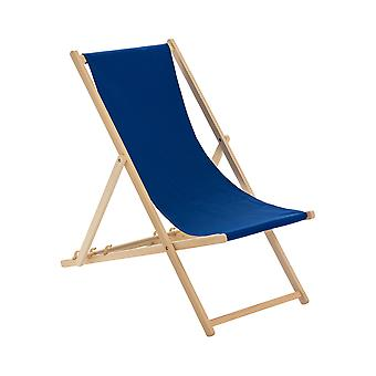 Traditional Adjustable Garden / Beach-style Deck Chair - Navy-Blue
