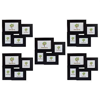 Nicola Spring Multi Collage Hanging Photo Black Frame - 4 photo spaces - Pack Of 5
