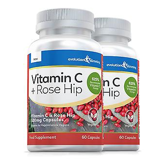Vitamin C with Rose Hip 520mg, Suitable for Vegetarians and Vegans - 120 Capsules - Antioxidant - Evolution Slimming