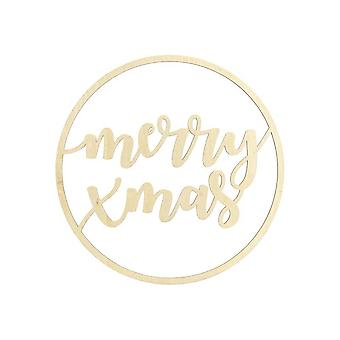 Wooden Hanging Christmas Sign with the words 'Merry XMAS'