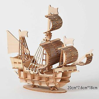 Laser Cutting Diy 3d Wooden Sailing Ship Puzzle Assembly Model Wood Craft Kits