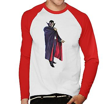 Dracula Cape Pose Men's Baseball Long Sleeved T-Shirt