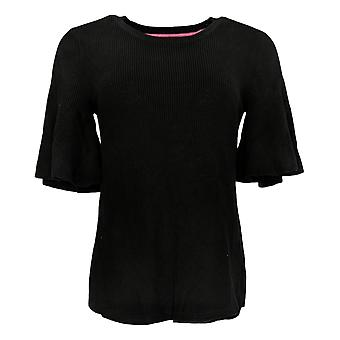 Isaac Mizrahi Live! Women's Top Flounce Short-Sleeve Black A352388