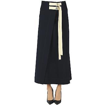 Yohji Yamamoto Ezgl123016 Women's Blue Cotton Skirt
