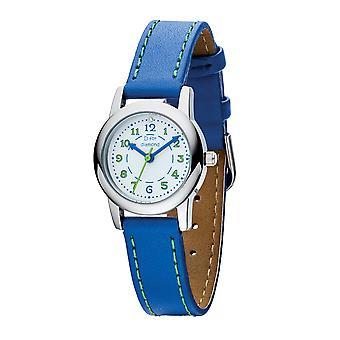 D pentru Diamond Childrens Diamond Blue Leather Ceas cu cusături verzi
