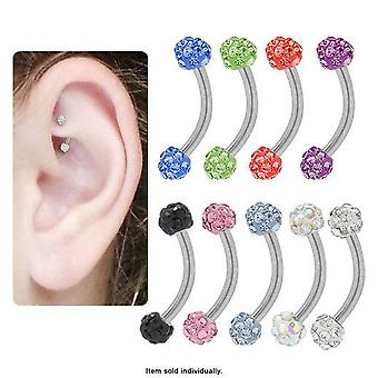 Curved barbell rook earring with cz jewels 16g