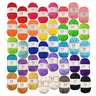 Basic miniature yarn pack – 40 yarn bonbon skeins 100% acrylic - total of 875 yards (800 m) colour