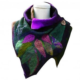 Vintage Schal Frauen Herbst Winter Blatt Druck weiche Wrap unregelmäßige Knopf warm