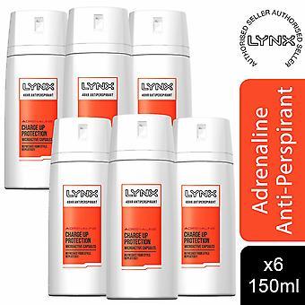 Lynx 48H Anti-transpirant Deodorant Charge Up Protection, Adrenaline, 6 Pk, 150ml