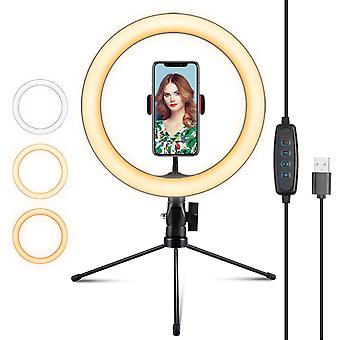 TechFlo 10 Inch LED Selfie Ring Light Phone Mount with Desktop Tripod Dimmable