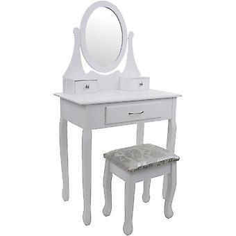 Drevený toaletný stolík biely - so zrkadlom a zladenou stoličkou - 3 zásuvky