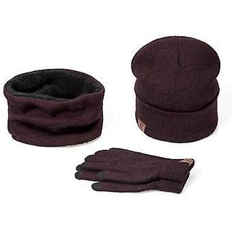 Women Scarf Hat Gloves Set, Three-piece, Winter Warm Female Hats, Scarves