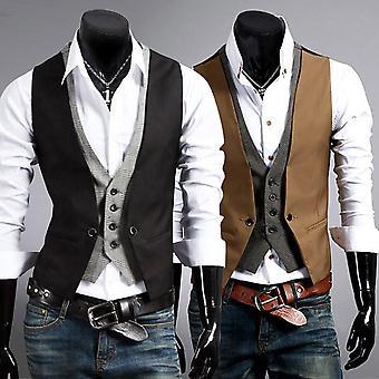 Men Formal Waistcoat Business Single Button Vest