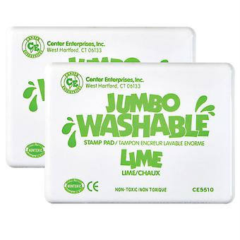 Jumbo Washable Unscented Stamp Pad, Lime Green, Pack Of 2