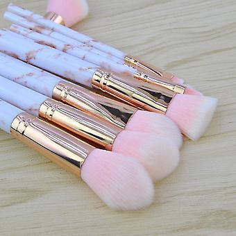 Pink Marmor 10 stk. make-up børster af fin kvalitet.