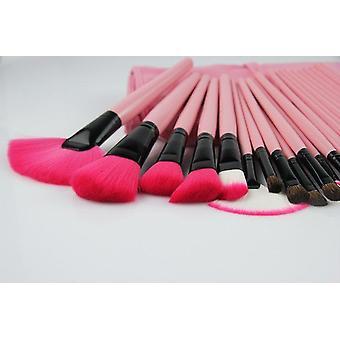 (Pink Pro) 24 stk. pink makeup pensler med læderetui
