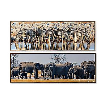 Painting Dekodonia African Man animals (2 pcs) (120 x 2 x 40 cm)