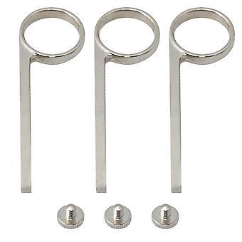 Anel de dedo de aerçante plano de cobre 3pcs B com peças de parafuso de suporte prata