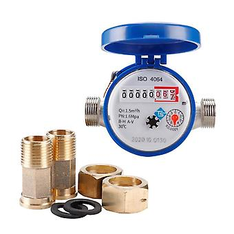"""Water meter mechanical rotary wing 0-30℃ cold e-type 1/2"""" - 3/4"""" qn 1.5m3/h precision 0.0001m3 with all copper connector"""