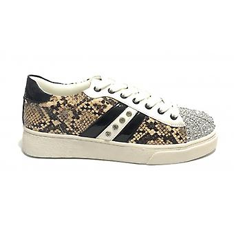 Women's Sneakers With Gold&gold Beige Python Faux Leather With Rhinestones D20gg05