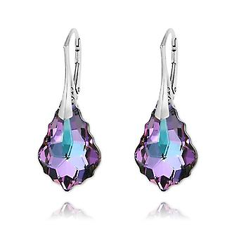 Silver earrings with swarovski crystal vitrail light