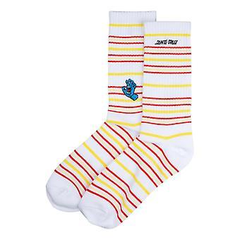 Santa Cruz Screaming Mini Hand Stripe Socks - White Stripe