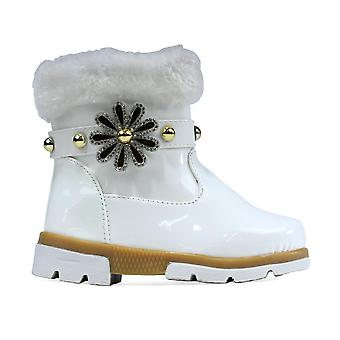 Girl's Faux Fur Flower Ankle Boot White