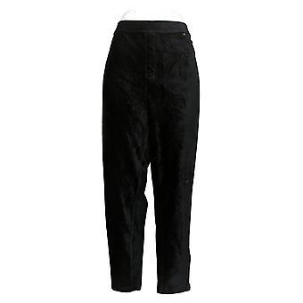 Susan Graver Women's Petite Pants Corduroy Straight Leg Black A297162