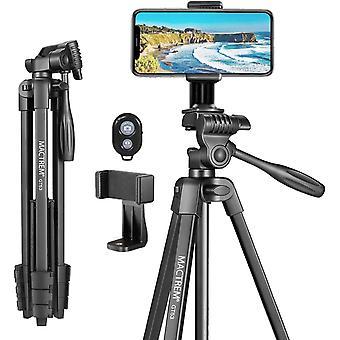 Praktisches Stativ Smartphone MACTREM 136.5cm 3KG Dreibeinstativ aus Aluminium mit Handy und Halterung
