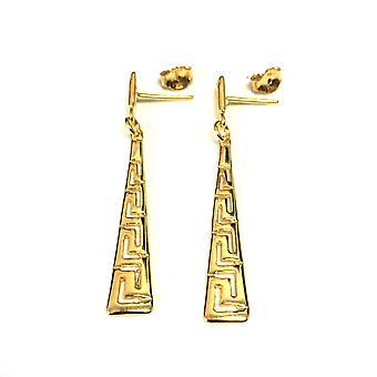 Sterling Silver 18 karaatin kulta peitto pinnoitettu Kreikan avain korvakorut