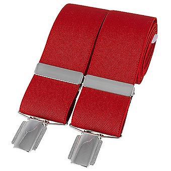 David Van Hagen Plain 35mm Clip Braces - Punainen/Hopea