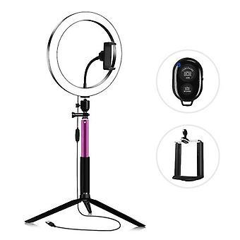 26cm/10 Inch Diameter 3200K-5600K Bi-color Beauty Ring Video Light Kit 3 Lighting Modes