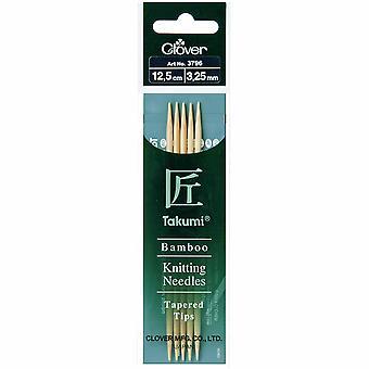 Pasadores de tejido de trébol: Doble punta: Conjunto de cinco: Takumi Bambú: 12.5cm x 3.25mm