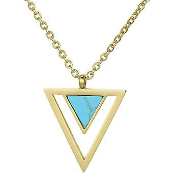 HanFei Damen Edelstahl Gold Halskette mit Anhnger im Samtbeutel